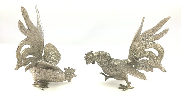 Fighting Roosters - Pewter/Tin