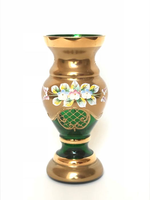 Bohemian High Enameled Hand Painted Vase Green  - Vase - Glass