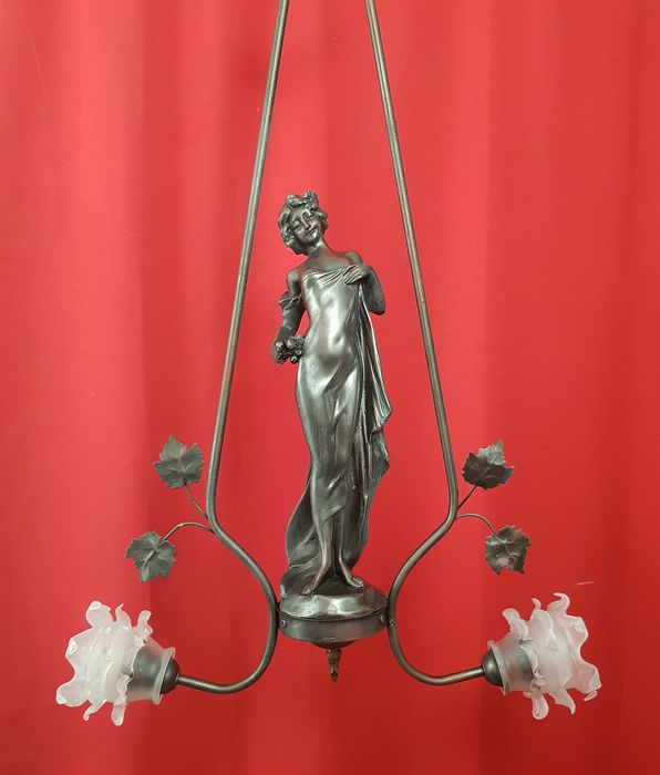 Pendant lamp with woman art nouveau style - Glass, Resin/Polyester, Steel