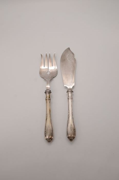 Meat serving utensils - .800 silver - Germany - Early 20th century