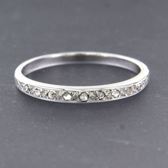 18 kt. White gold - Ring - 0.05 ct Diamond