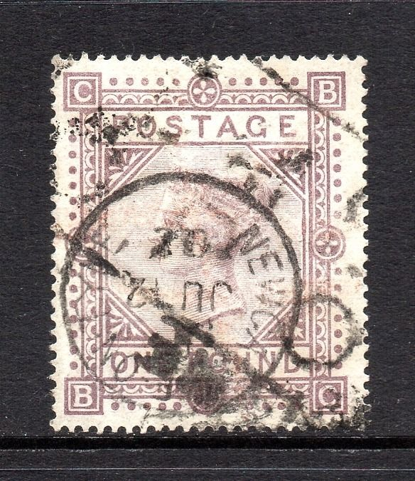 Great Britain 1878 - Queen Victoria £1 Brown Lilac Watermark Maltese Cross - Stanley Gibbons SG129