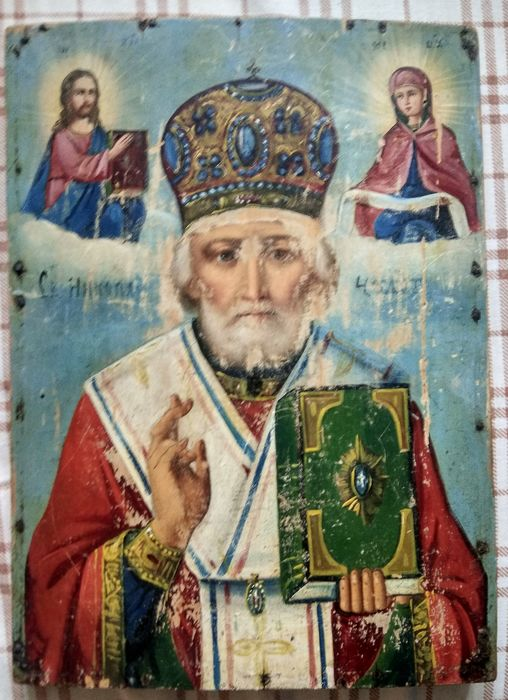 Russian icon The St. NIcholas - oil on wood - Late 19th century