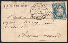 Frankrig 1870 - 'Le Franklin' balloon mail bound for Clermont-Ferrand - Roumet certificate