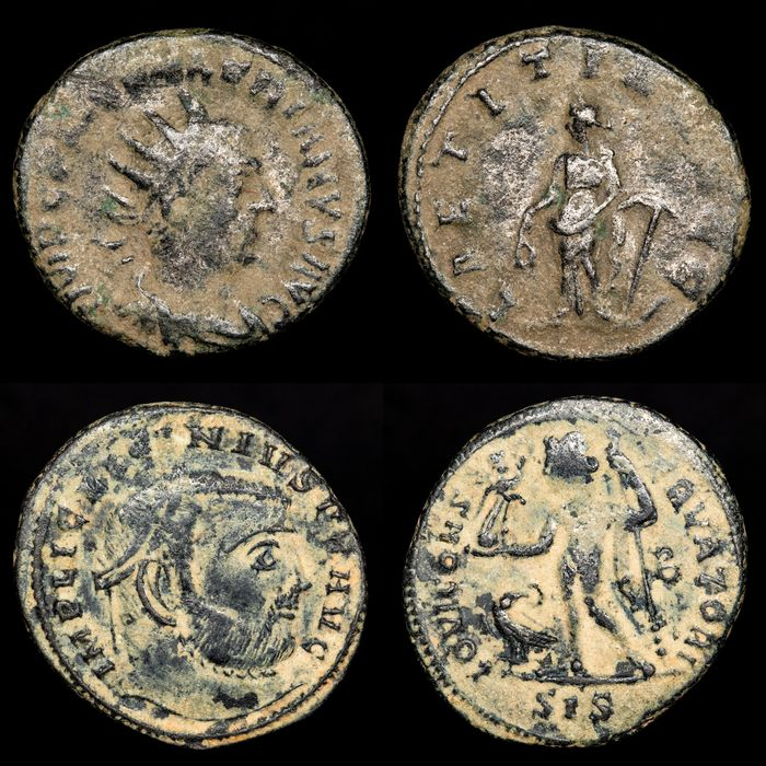 Roman Empire - Lot comprising 2 Ae coins, Follis and Antoninianus - Valerianus ( Laetitia ) and Licinius I ( Iovi )