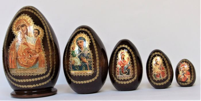 Icons of the Mother of God in the form of eggs like the Matryoshka  Vladimir Mother of God , Tikhvin (5) - Wood