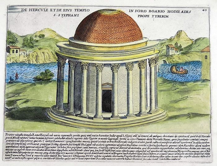 Jacobus Laurus (active 1583-1645) - Folio engraving, hand coloured - Temple of Hercules in the Boarian Forum, now St. Stephen on the Tiber - Rome - Italy - 1624