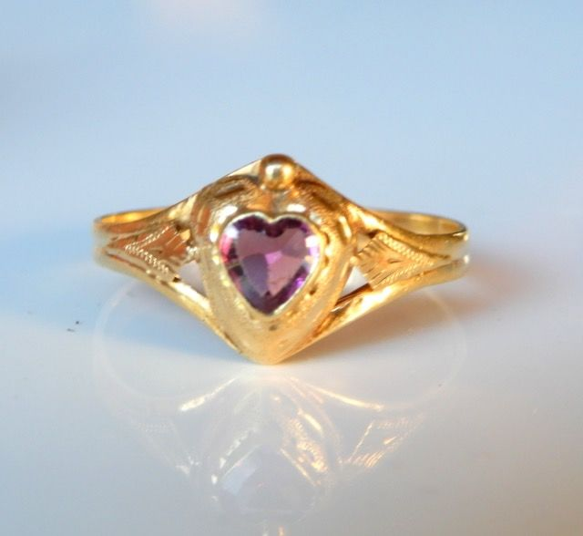 No réserve ! - 18 kt. Yellow gold - Ring Amethyst