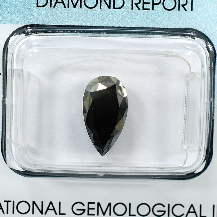Diamond - 2.43 ct - Pear - Black - N/A