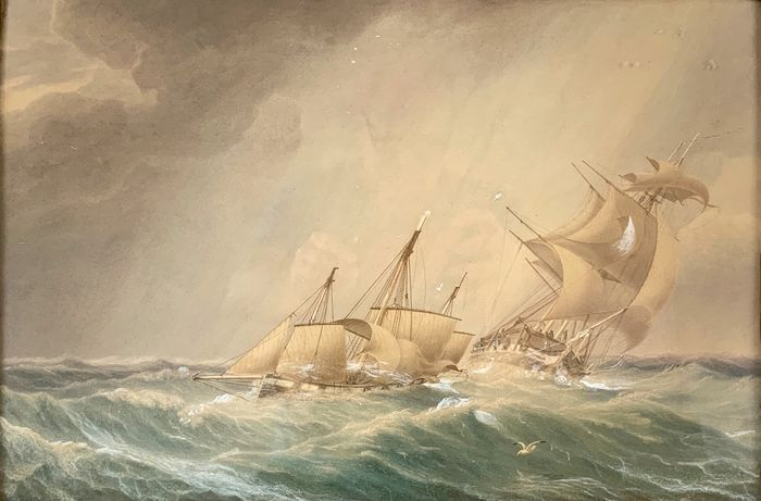 English school (19th century) - Shipping caught in a gale