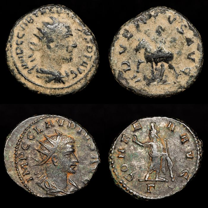 Empire romain - Lot comprising 2 Antoniniani: Trebonianus Gallus (AD 251-253) - ADVENTVS AVG / Claudius Gothicus (AD 268-270) - CONSER AVG