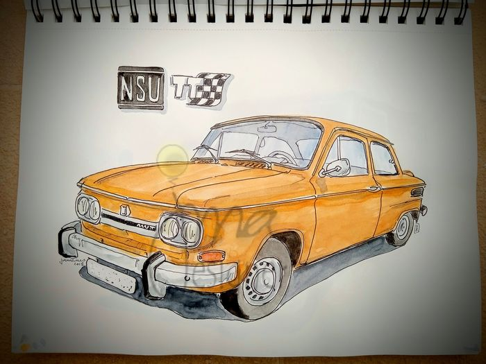 Original watercolor by Jorge Antunes - NSU TT - 2018