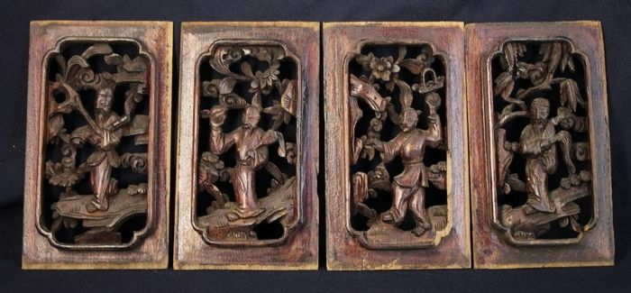 Panels (4) - Wood - Set of 4 wood carvings of immortals - China - Republic period (1912-1949)