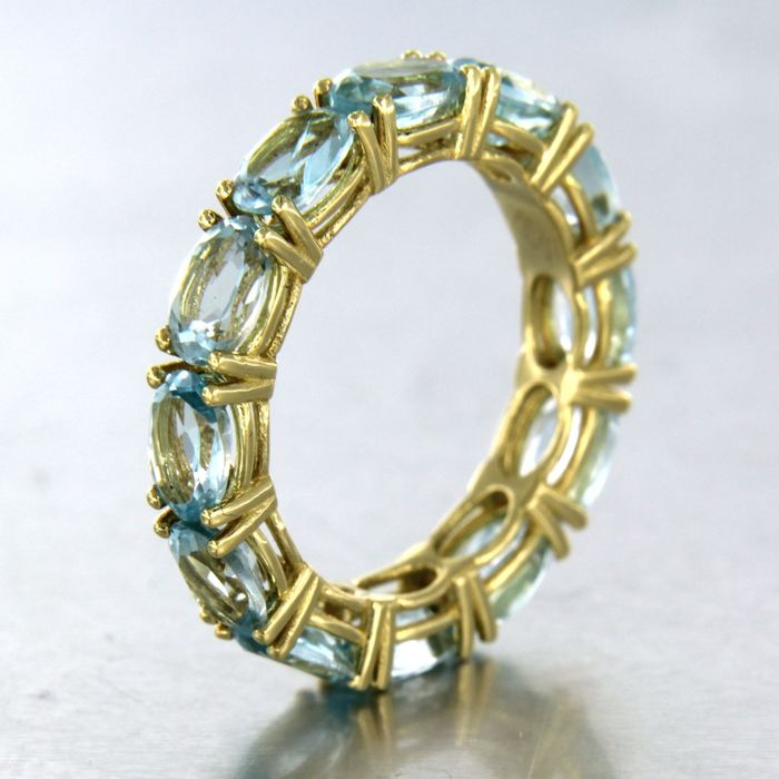 18 kt. Yellow gold - Ring - 6.40 ct Topaz