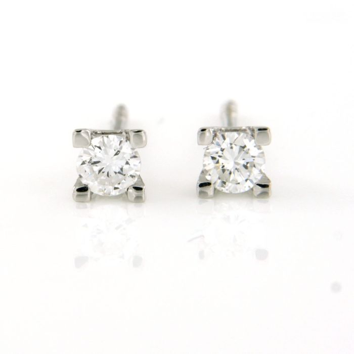 14 kt. White gold - Earrings - 0.20 ct Diamond
