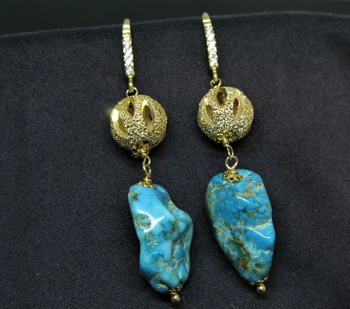 Vermeil Yellow gold - 925 Silver - Earrings natural turquoise elements 18.5 x 12 mm - white topaz