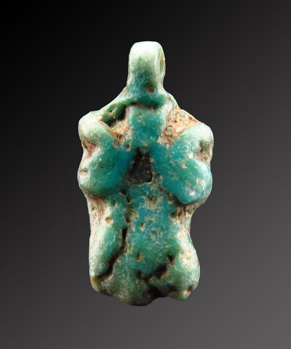 Ancient Egyptian faiance Amarna Lotus flower amulet - 14×8×3 mm - (1)