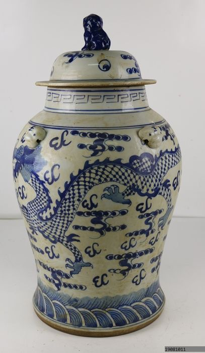 Large ginger jar decorated with Chinese dragons - Porcelain - China - Late 20th century