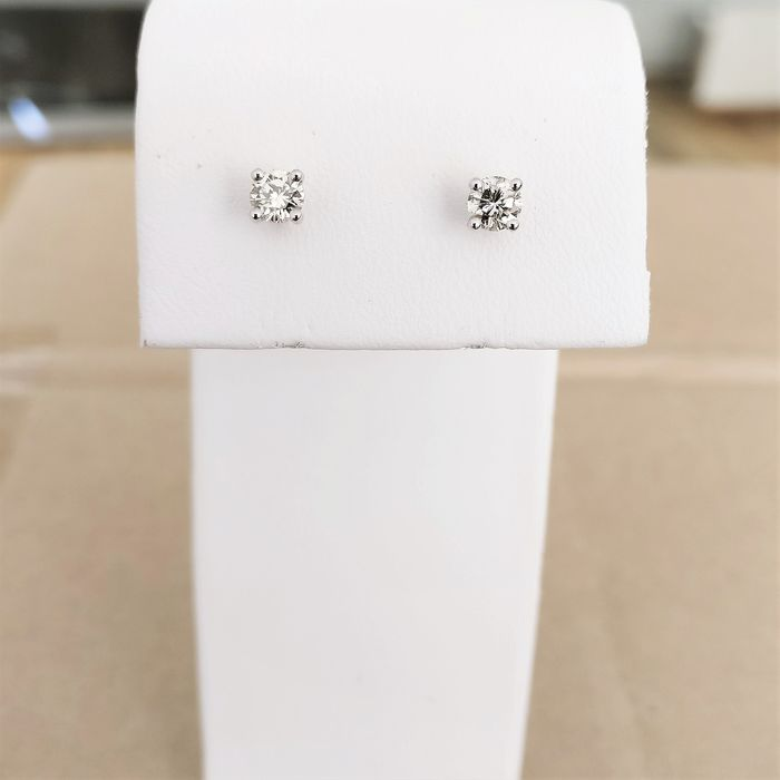 18 kt. White gold - Earrings - 0.47 ct Diamond