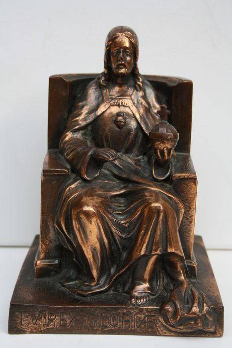 bronze patinated sacred heart christ statue (1) - Zamac