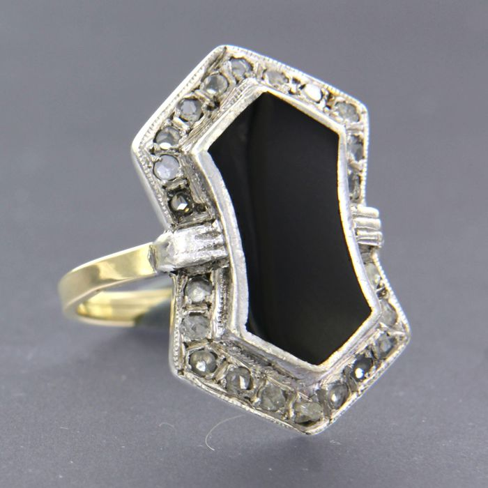14k geel goud met zilver Z2 Gold, Silver - Ring - 0.30 ct Diamond - onyx