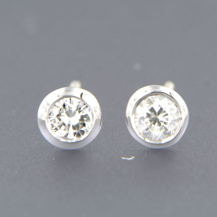 18 kt. White gold - Earrings - 0.20 ct Diamond
