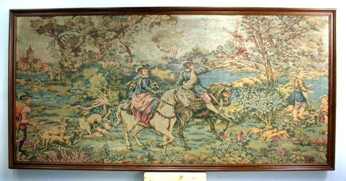 Large Gobelin with hunting scene - machine-woven cotton