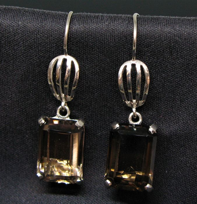No reserve price - 9 kt White gold - Earrings - 8.60 ct 2 Smoky Citrine octagonal-faceted-cut