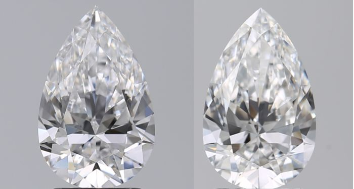 2 pcs Diamanten - 0.83 ct - Birne - D (farblos) - VS1, VVS2