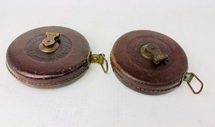 John Rabone & Sons - Antique Tape Measures 66Ft & 50Ft (2pcs) - Wind Up Handle - Leather, Cotton, Brass