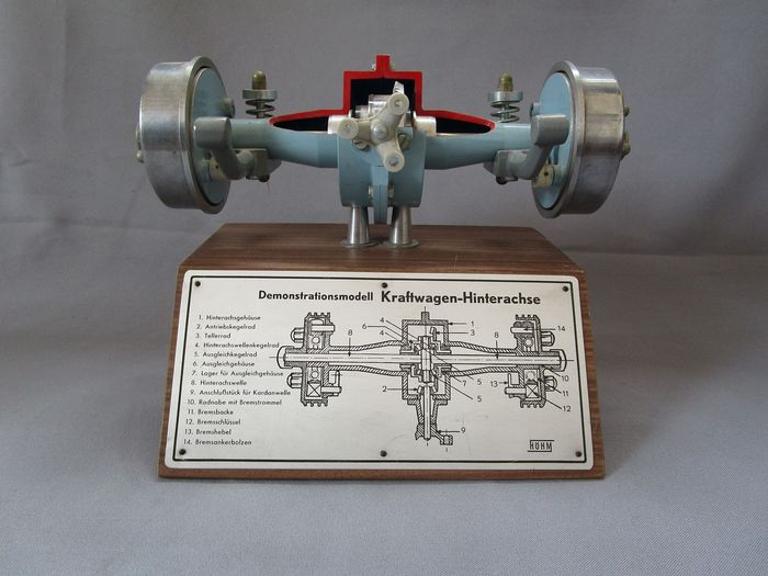 Model of a rear axle with differential & shock absorbers - Firma Höhm - Deutschland - sehr guter Zustand - 1950-1970