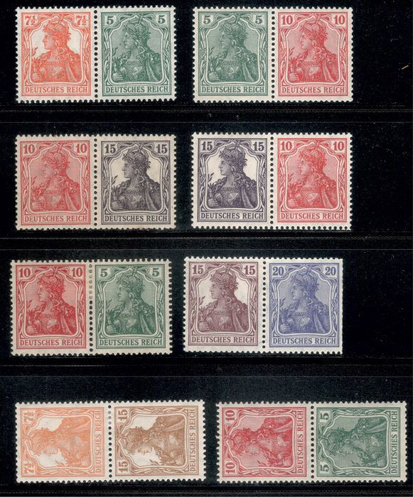 """German Empire 1915/1919 - """"Germania"""" - lot with partly better se-tenants"""