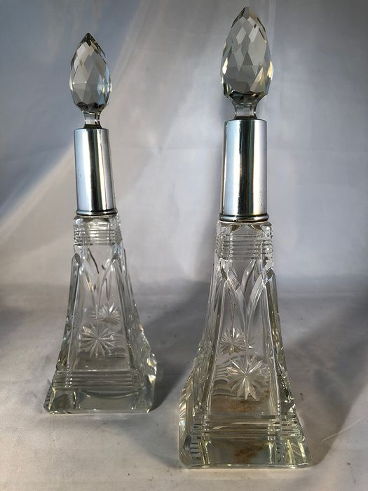 Perfume bottle (2) - .925 silver - Wolfsky & Co, London  - U.K. - 1932