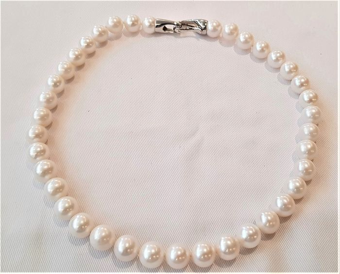 No reserve price - 925 Silver - 11x12mm Cultured Pearls - Necklace