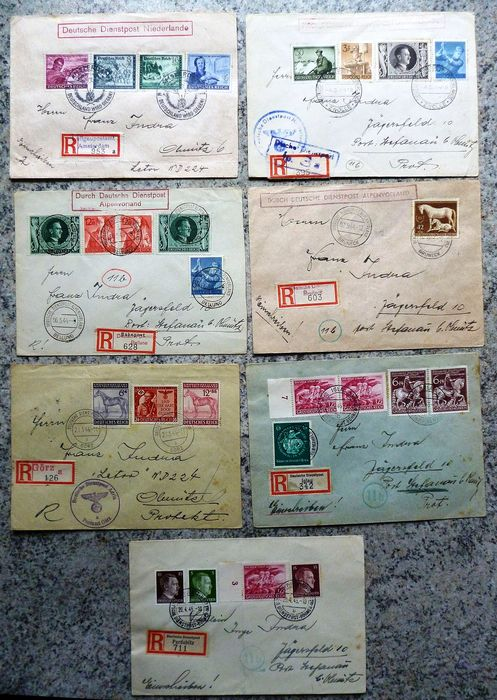German Empire 1944/1945 - 7 German registered official post documents, i.a. Netherlands
