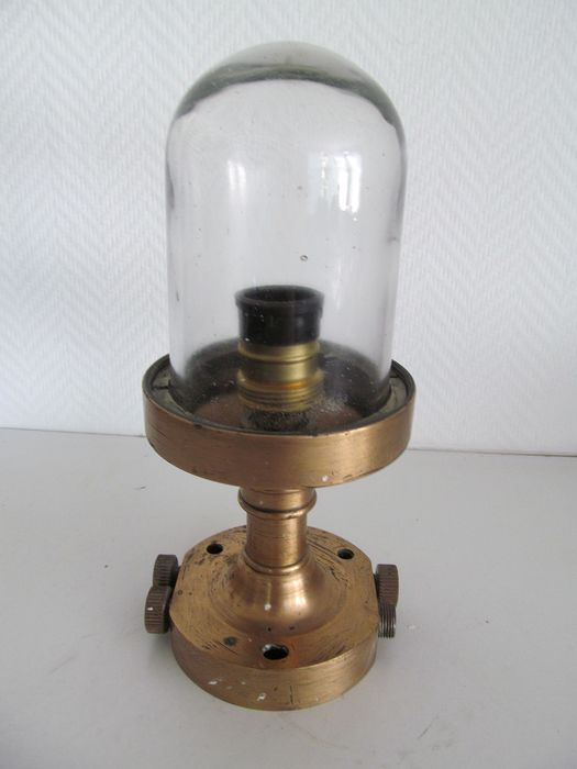 Bronze ship lamp with glass - Bronze and glass