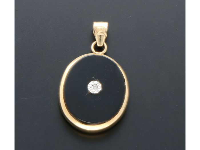 18 kt Gelbgold - Ring Onyx - Diamant, Emaille