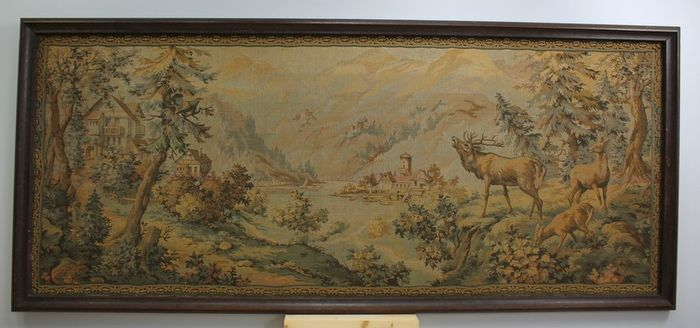 Great Gobelin with mountain landscape and deer - machine-woven cotton