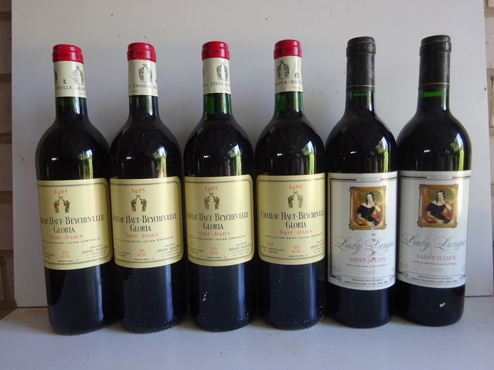 "Mixed lot - 1990 ""Lady Langoa""x 2 bottles - 1998 Chateau Haut Beychevelle Gloria  x 4 bottles - Bordeaux, Saint-Julien - 6 Bottles (0.75L)"