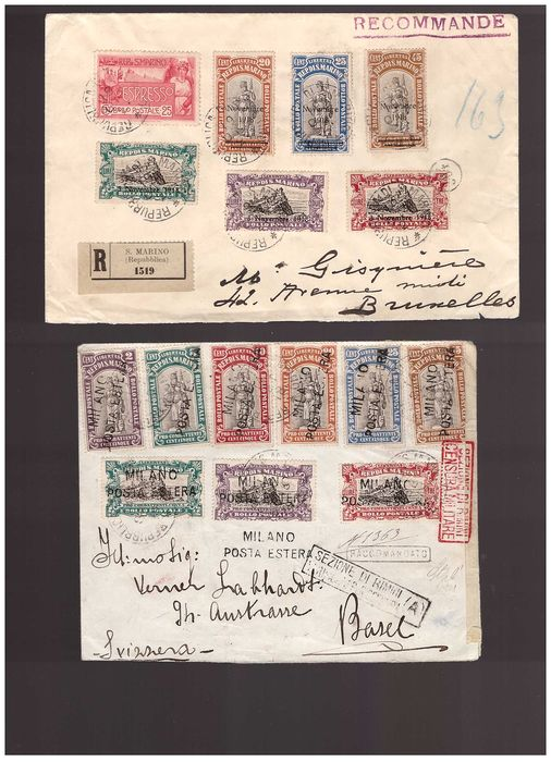 Saint-Marin - lot of postal history of the early period