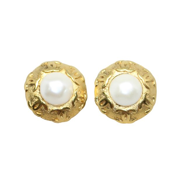 Chanel - Vintage Gold Plated button style CC Logos Clip Earrings Earrings