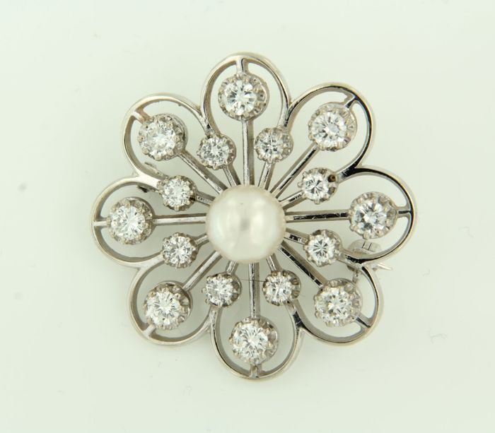14 kt. White gold - Brooch - 1.50 ct Diamond - Pearl