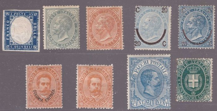 Italy Kingdom 1863/1886 - Selection of stamps I period Kingdom (second choice) - Sassone NN. 11, 16/7, 23/4, 39, 44, PP.2