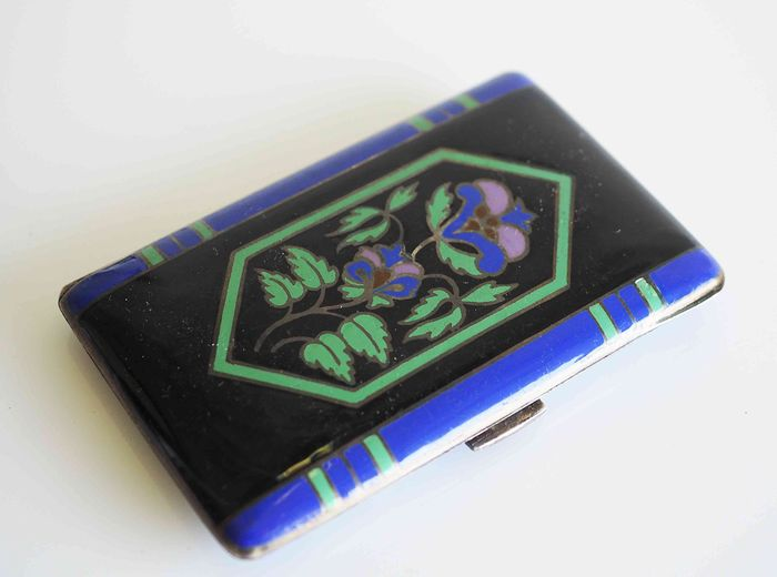 Cigarette case - .935 silver, Enamel - Germany - Early 20th century