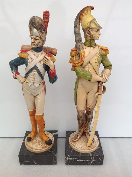 Soldiers (36 cm!) - Made in Italy (2) - Marble, Celluloid