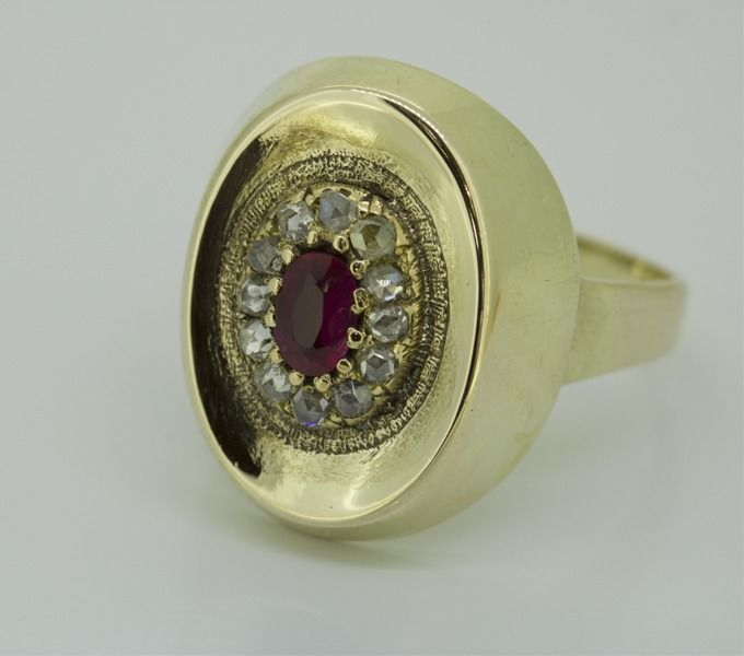 14 carats Or jaune - Bague - 0.36 ct Diamant - Rubis