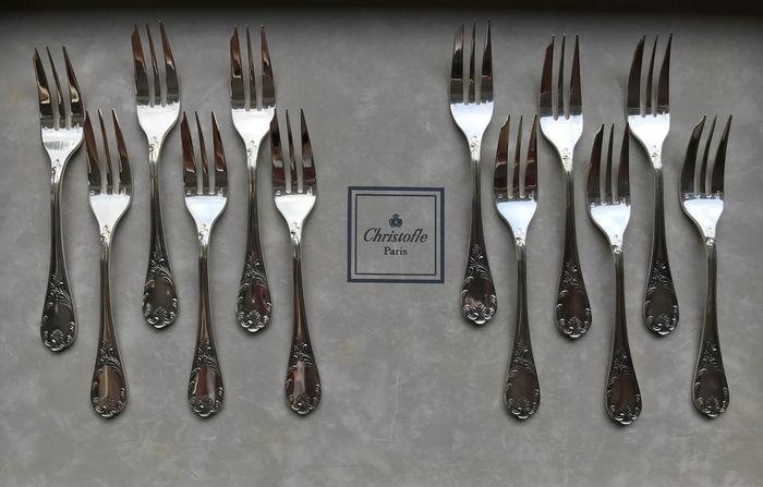 Christofle modèle Marly  - Cake forks (12) - Silver plated