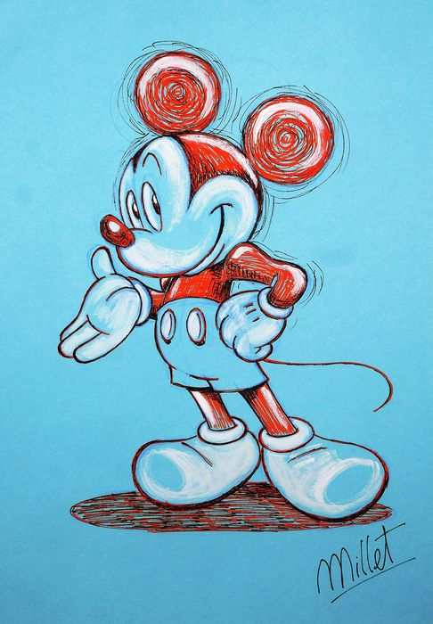 Millet - Original Acrylic Drawing - Mickey Mouse - First edition