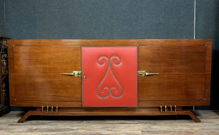 beautiful enfilade curved art deco period in sycamore and red leather studded