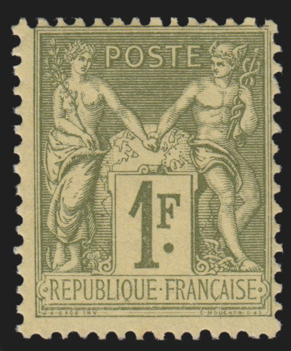France 1883 - Sage 1fr olive-clair, Type II, neuf sans charnière - Yvert n° 82